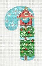Blue Bird & House MED. Candy Cane handpainted Needlepoint Canvas from Danji