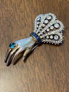 Vintage Trifari Alfred Philippe Hand Pin Clip Emerald & Sapphire Colors So Rare!