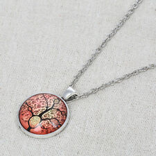 Red Tree of Life Cabochon Necklace Round Pendant Silver Chic Chain Alloy Jewelry