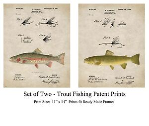 Vintage Fly Fishing Lures Patent Prints Brown Trout Fish Cabin Decor (SET of 2)