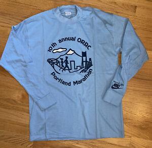 Vintage 1982 Nike 10th ORRC Portland Marathon Long Sleeve T Shirt Belton Sz. L