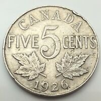 1926 Canada Near 6 Six Five 5 Cents Canadian Nickel Circulated Coin C671z