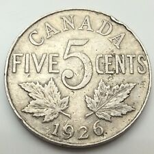 1926 Canada Near 6 Six Five 5 Cents Canadian Nickel Circulated Coin C671 Z
