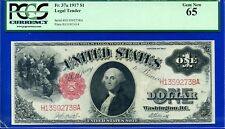 Rare FR-37a 1917 $1.00 US Note (( REVERSE SIGNATURES)) PCGS Gem 65 # H13592738A.