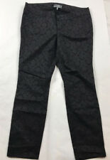 Wit & Wisdome Size 16 Black & Silver Brocade Patterned Slim / Skinny Pants Jeans