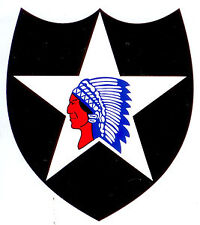 Autocollant sticker 2nd INDIAN HEAD ( JEEP DODGE GMC WW2 USA DEBARQUEMENT D DAY
