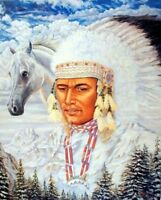 Native American Indian Chief and Horse Picture Wall Art Decor Print (8x10)