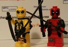 Deadpool Red / Yellow Costume Minifigure Custom Brand Marvel Wade Winston Lego