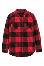 Women's Check Casual Shirt Blouse Flannel H&M Long Sleeve Fitted Soft Cotton