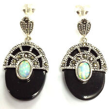 FINE ART DECO WHITE OPAL BLACK ONYX MARCASITE EARRINGS 925 STERLING SILVER