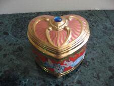 Music Box Heart Shape Beautifully Decorated Porcelain W/Velvet Interior