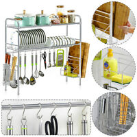 1/2 Tier Kitchen Sink Dish Drainer Plate Cups Dry Rack With Cutlery Caddy  Steel