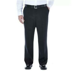 HAGGAR Premium No Iron Khaki Pants Classic Fit Hidden Expandable Waist Black 56