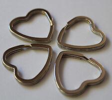 (19)  4 Stück Schlüsselringe Herz Herzen silberfarben ø ca.32 mm Schlüssel Ring