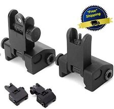 Ar Tactical Flip Up Front Rear Sight Sights Set Picatinny Rail Iron Dual Black