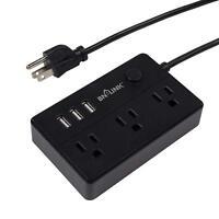 BN-LINK Mini Desk Portable Power Strip 3 Outlets 3 USB Ports, 5 Feet Cord, Black