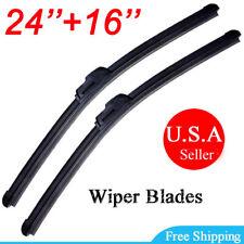 "ALL SEASON 24"" & 16"" WINDSHIELD WIPER BLADES Bracketless Premium Hybrid silicone"