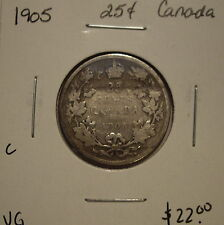 C Canada Edward VII 1905 Silver Twenty Five Cents - VG