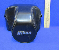 Nikon Camera Case Vintage Leather Black w/ Tripod Base Fitted Holder Snaps CH-4