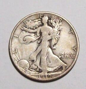1919-D WALKING LIBERTY HALF DOLLAR  Nice Original Fine  #1C47