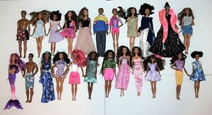 Large Lot of 23 Beautiful Black Barbie and Friends Dolls AA