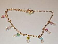 18 kt Gold gep Simple Dancer Sexy Anklet Chain Colored Crystals