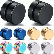 Magnetic Earrings Gothic Stainless Steel Round Ear Stud SILVER GOLD BLACK Unisex