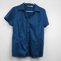 Croft & Barrow Women's Short Sleeve Stretch Blouse Top Blue Size XL Collared