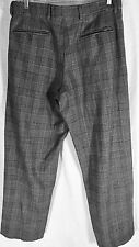 EMPORIO ARMANI WOMENS WOOL CAREER PANT GREY HOUNDSTOOTH SIZE 32 X 29