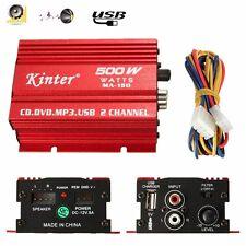 Car Audio Stereo HiFi Amplifier 2CH 500W Power Motorcycle Amp MP3 Speaker 12V