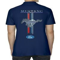 Mens Licensed Ford Mustang Polo Shirt American V8 Muscle Car Classic Pony Stripe