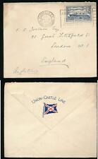 FRANCE 1935 SHIP FRANKING on UNION CASTLE LINE ENVELOPE