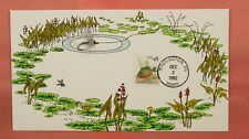 1992 FDC #2481 PUMPKINSEED SUNFISH BEDFORD FISHING CACHET W/ REAL FLY