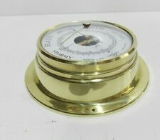 More details for vintage barometer precision small brass ships wall barometer
