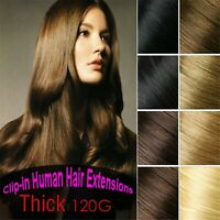 Double Weft Straight Bundle 120g 100%Remy Human Hair Clip In Extension Full Head