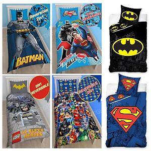 DC COMICS BATMAN & SUPERMAN DUVET COVERS - KIDS SINGLE DOUBLE BEDDING