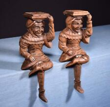 """*17"""" Pair of Vintage Oak Figures/Support Posts Pillars Architectural"""