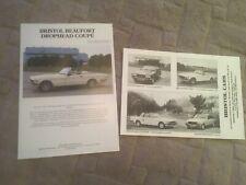 BRISTOL CARS   BROCHURE & SALES SHEET.      1985. Circa