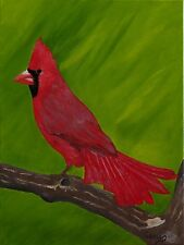 """Cardinal Bird Oil Painting, Red, (12"""" x 16"""")"""