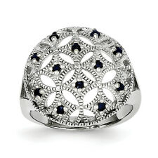 Sterling Silver Blue Sapphire Circle Ring QR4417