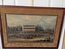 "ANTIQUE BRITISH HORSE RACING COLOR ENGRAVING EPSON/NEWMARKET? 1800-1899 21"" x 27"
