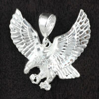 Mens 925 Sterling Silver Diamond Cut Flying Eagle 33*36mm Pendant USA