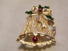 Christmas Brooch Pin Gold Tone Signed Gerrys Enamel Textured Bell Nice