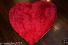 FUR ACCENTS Red Shag Heart Accent Rug Faux Fur 3'