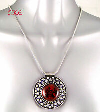 Retro Lampwork Chunky Glass Amber Luk Boho Ethnic Vintage Mandala Tribal Pendant