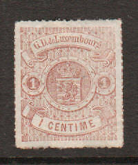 Luxembourg Sc 17 MLH. 1872 1c Coat of Arms, tiny thins