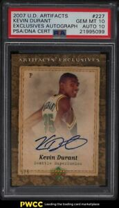 2007 UD Artifacts Exclusives Kevin Durant ROOKIE PSA/DNA 10 AUTO 5/5 #227 PSA 10