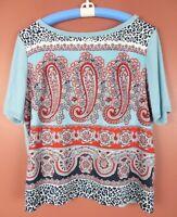 TB06672- TALBOTS Women's Polyester Cotton Rayon Knit Blouse Multicolor Geo XLP