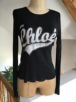 SEE BY CHLOE Black 100% Cotton Sequin Graphic Long Sleeve Logo Top T-Shirt UK 10