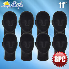 New Male Styrofoam Foam Black Mannequin Head Display Wig Hat Glasses 8pc